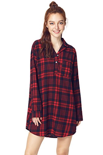 Latuza Women's Cotton Flannel Nightgown 2X Red & Navy (Nightshirt Ladies Red)