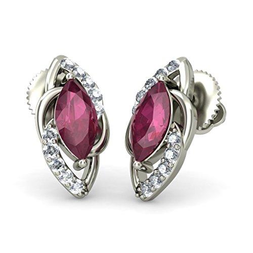 18K Or Blanc 0,1carat au total Round-cut-diamond (IJ | SI) et rubis Boucles d'oreille à tige