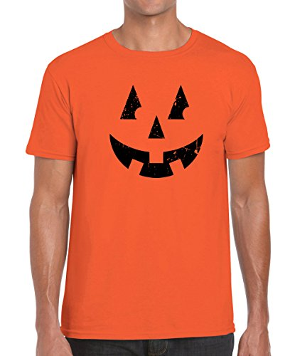 Crazy Bros Tee's Funny Jack O' Latern Face - Halloween Costume Idea Premium Men's T-Shirt (Medium, Orange)