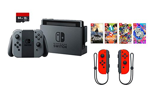Nintendo Switch 7 items Bundle:Nintendo Switch 32GB Console Gray Joy-con,64GB SD Card and Nintendo Controllers Neon Red,4 Game Disc1-2-Switch Just Dance2017 The Legend of Zelda Super Bomberman R