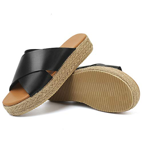 (SNIDEL Espadrilles Wedges for Women Strappy Leather Sandals Platform Slides Open Toe Slippers Summer Slip on Shoes Black 7 B (M) US )
