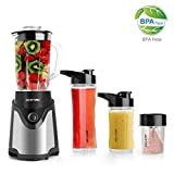 Personal Blender and Coffee Grinder 2-in-1, Single Serve Smoothie Milk-shake Maker with 20oz Glass Jar, 2 BPA-Free Portable Bottles and Travel Lids (300W/Black)