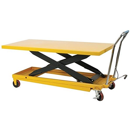 Wesco-273261-Long-Scissors-Lift-Table-with-Handle-Polyurethane-Wheels-1100-lb-Load-Capacity-63-x-32-Tabletop-36-Height