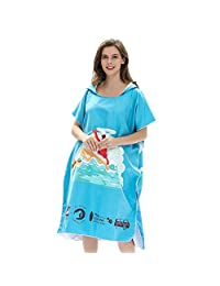 Microfiber Surf Beach Wetsuit Changing Towel Bath Robe Poncho with Hood,One Size Fit All, Blue Blooming Flowers