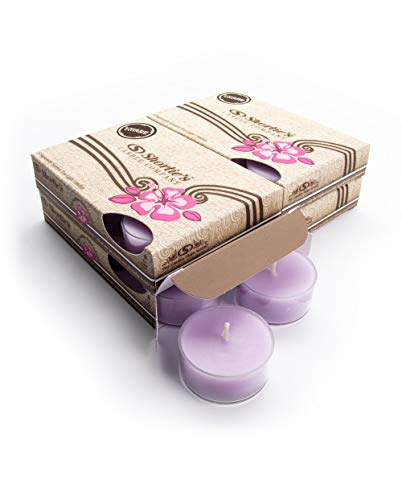 Pure Soy Tealights - Pure English Lavender Tealight Candles Bulk Pack (24 Purple Highly Scented Tea Lights) - Made with Essential & Natural Oils - Clear Cup for Beautiful Candlelight - Flower & Floral Collection
