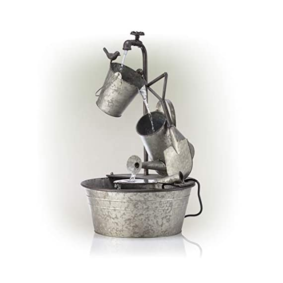 "Alpine Corporation 28"" Tall Outdoor 3-Tier Metal Garden Tools Water Fountain - GARDEN TOOL FOUNTAIN: Garden water fountain features various familiar tools and a bird figurine — the perfect addition to your outdoor décor. Interior pump keeps the water flowing — just plug it in! RELAXING WATER FLOW: Water trickles from the pump spout into the buckets and can, adding a peaceful ambiance to your outdoor setting RUSTIC LOOK: Realistic iron garden tools and pump head design for an old-fashioned farmhouse feel - patio, outdoor-decor, fountains - 41OfIPUiY2L. SS570  -"