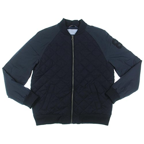 Tommy Hilfiger Men's Wool Blend Zip Front Quilted Bomber Jacket, Midnight (Medium) by Tommy Hilfiger