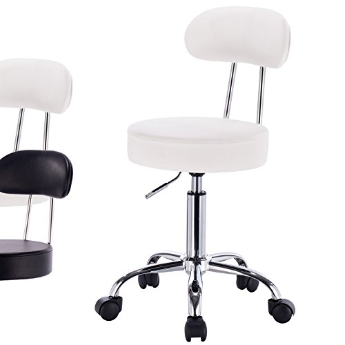 WOLTU ABSX1008whi-a 1x Rolling Swivel Hydraulic Chair with Back Synthenic Leather Round Seat Stools for Home Office Lab Medical Spa Massage Salon Adjustable Seat Height:18.5'' to 23.2'',White by WOLTU