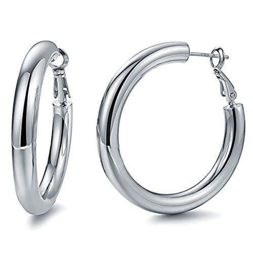 Hoop Earrings 24K Gold Plated 925 Sterling Silver Post 5MM Thick Tube Very Lightweight Hoops for Women And Girls (White)