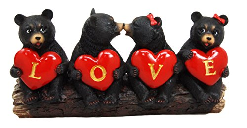 Atlantic Collectibles Black Bear Valentine Couples Holding Heart Love Signs Decorative Figurine - Figurine Heart Holding