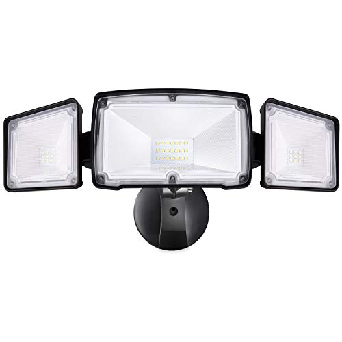 Amico 3500LM LED Security Lights Outdoor, 30W 5000K Super Bright Outdoor Flood Light, 3 Head Adjustable, IP65 Waterproof, ETL Certificated, Exterior Light for Garage, Patio, Garden, Porch&Stair