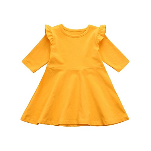 Amanod Toddler Infant Kids Baby Girls Dress Solid Ruffle Sun Dresses Clothes Outfits