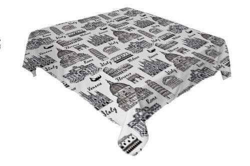 Flyerer City Table Cover Monochrome Sketch Style Famous Places from Italy Rome Milano European Architecture Black White Waterproof Table Cloth Rectangular Tablecloth 52 by 70 inch