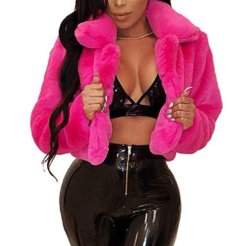 Kanzd Women Coat Fashion Women Coat Fluffy Fleece Turn-Down Collar Faux Fur Top Short Loose Coat (Hot Pink, L)