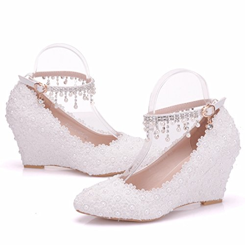 5 White Heel US Wedding Ankle Lace Shoes Chains Women's Wedge Minishion Studded Flowers 4 High 6Rw7Y