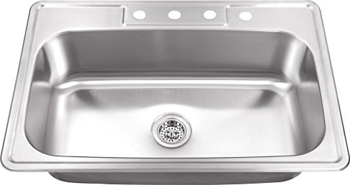 MSDP3322SB 33-in x 22-in 20 Gauge Stainless Steel Single Bowl Kitchen Sink ()