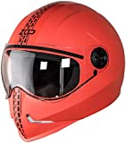 Steelbird SB-50 Adonis Zap Dashing Full Face Helmet Red with Black (Large 600 MM, Plain Visor)