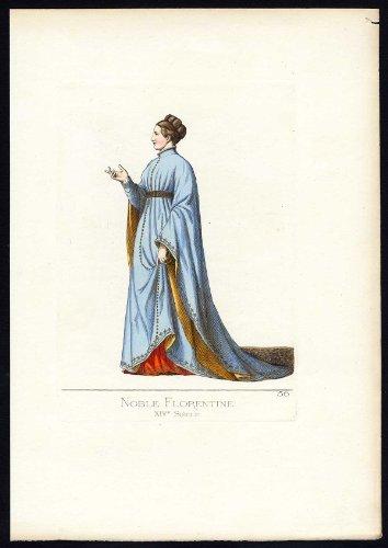 Fourteenth-century Italy Costumes (Antique Print-FLORENCE-ITALY-COSTUME-14TH CENTURY-PLATE 56-Bonnard-Mercuri-1860)