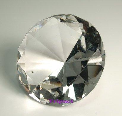 (Diamond Jewel Paperweight 100mm Clear Round Cut)