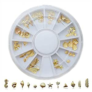 Gold Plated Metal Nail Sticker (Ocean Style) Mixed Design Nail Art Decoration Decals Acrylic Tips