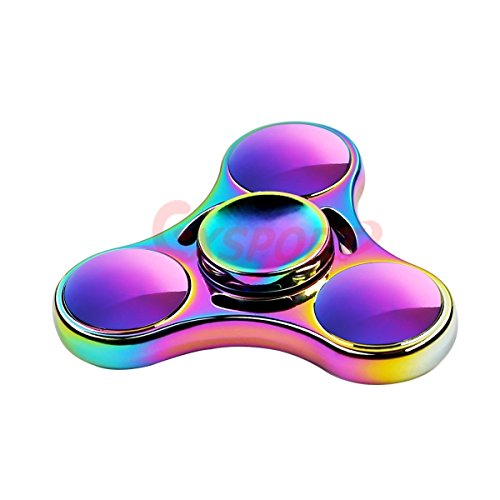 【2017 Upgraded】Colorful Triangle Spinner and Double Fidget Spinner Metal Material New Style EDC Hand Fidget Spinner Colorful for High Speed Relieving ADHD, OCD, Anxiety (Rainbow 3) EXSPORT