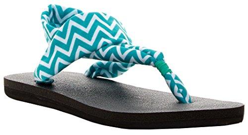 Chevron Metallic Hot Turquoise Flip Sling Women's Flop Yoga Sanuk 2 IAxZzwO