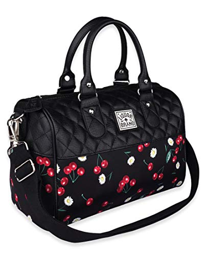 Liquorbrand Daisy Cherry Black Women's Bowler Bag Purse Quilted Faux Leather Handbag With Adjustable Shoulder Strap, 12