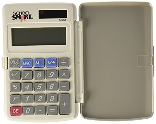 School Smart 8-Digit LCD Dual Power Pocket Calculator, 2-7/8 x 3/8 x 4-5/8 Inches ()