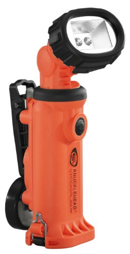 Streamlight 90670 Knucklehead Articulating Head Rechargeable LED Work Light with Clip 12-Volt DC Fast Charger, Orange - 200 Lumens ()