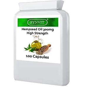 High Strength hempseed Oil 300mg 100 Capsules Omega 3 6 Sativa Synvit
