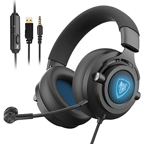 NUBWO N9PRO Gaming Headset, for PS4, Xbox One, Nintendo Switch, Mac, PC, Computer, Smartphone, Windows, LED Light, with Detachable Microphone, with Surround Sound Quality 3.5mm Volume Control, Black (Best Computer Games For Mac)