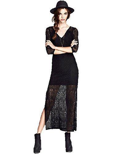 GSP-Damen Kleid - A-Linie Leger Solide Midi Polyester V-Ausschnitt