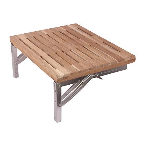 - BAYSUN Teakwood Modern Folding Shower Seat Bench, Dark Medical Wall Mount Foldable Fold Up Bathroom Stool Foldaway Shower Seating Chair,Premium Smooth Finish,