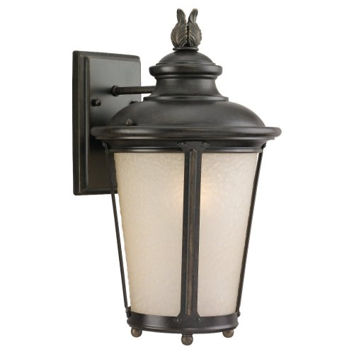 - Sea Gull Lighting 88241-780 Outdoor Sconce with Etched Hammered with Light Amber Glass Shades, Burled Iron Finish