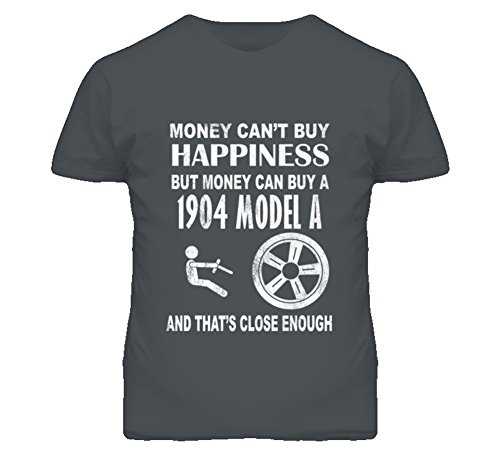 Money Cant Buy Happiness 1904 Cadillac Model A Dark Distressed T Shirt 2XL Charcoal Grey