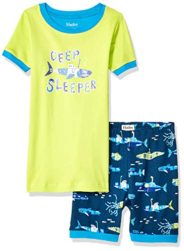 Hatley Boys' Big Organic Cotton Short Sleeve Appliqué Pajama Sets, Glow-in-The-Dark Deep Sleeper-Animal Subs, 12 Years