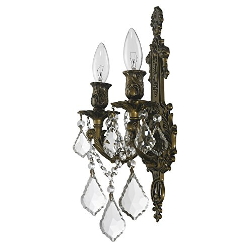 Worldwide Lighting W23315B12 Versailles 2 Light Crystal Wall Sconce, Antique Bronze Finish and Clear Crystal, Medium Fixture, 12'' W x 13'' H by Worldwide Lighting (Image #5)
