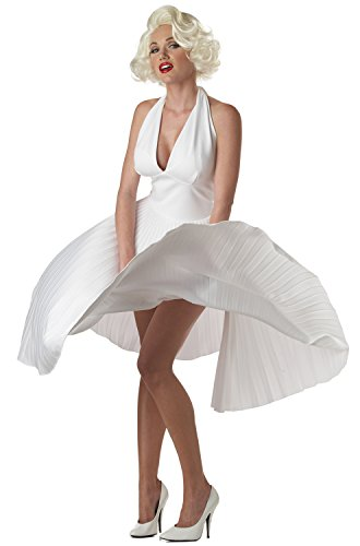 Hollywood Stars Costumes (California Costumes Women's Adult Deluxe Marilyn, White, M (8-10))