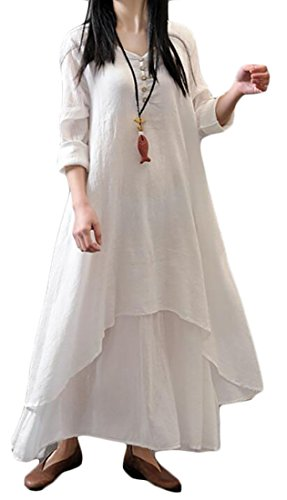 Long Irregular Layered Sleeve Cotton Dress Retro Linen s Domple Long Women White zqw8fH