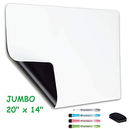 Big flexible magnetic dry erase whiteboard sheet for large and small mini refrigerator. Great for bulletin, to do list, organizer. Always erase clean technology 20x14 inches. ()