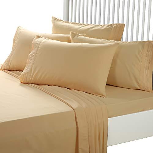 EASELAND 6 Pieces 1800 Thread Count Microfiber Bed piece Set Wrinkle Fade ResistantDeep PocketHypoallergenic Bedding SetKingGolden