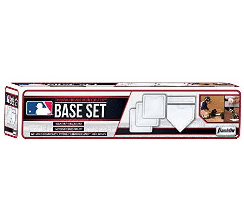 Franklin Sports Thrown Down Baseball Bases with Home Plate and Pitcher's Rubber - Rubber Base Set Perfect for Baseball, Teeball, and Kickball