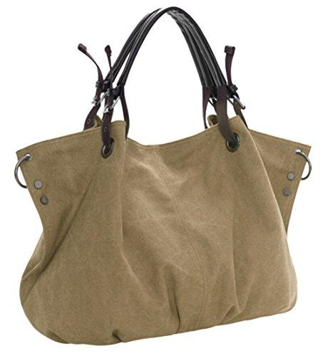 Cross Tote Fashion Hobos Bags Large DATO Top Multifunction Handbags Women Light Canvas for Handle Casual Bags Shoulder Bags Retro Khaki Body q6SzwvxztF