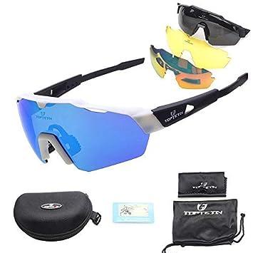 460a1aaaf6 Toptotn Gafas de Sol Deportivas, Gafas De Sol Polarizadas para Ciclismo con  3 Lentes Intercambiables UV400 Bicicleta Montaña (Blanco): Amazon.es:  Deportes y ...