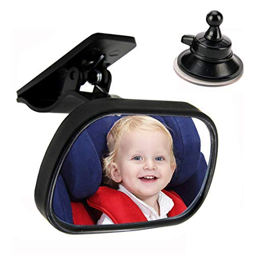 Car Mirror Baby ,MOTOBA Car Rear View Mirror to Observe Infant Child in Backseat,Clip and Suction 2 in 1 Stable & Safety Baby Mirror Easy to Use