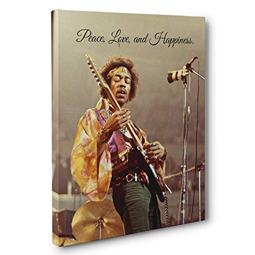 Jimi Hendrix Peace Love Happiness Quote Canvas Wall Art