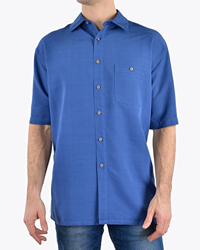 Campia Men's Textured Solid Crepe Weave Shirt (Marine, S)