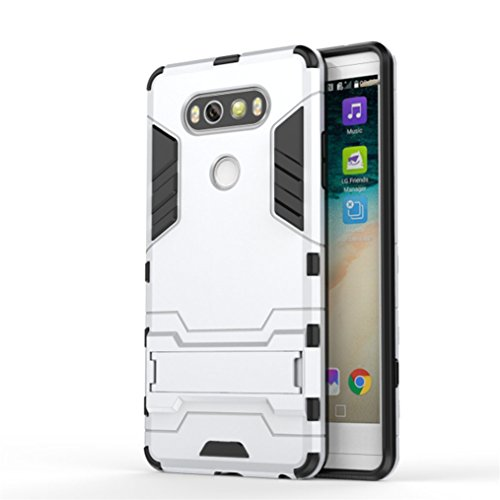 Price comparison product image For LG V20 Case,  HP95(TM) Fashion Slim Protective Phone Shockproof Back Case Cover with Kickstand For LG V20 (Silver)