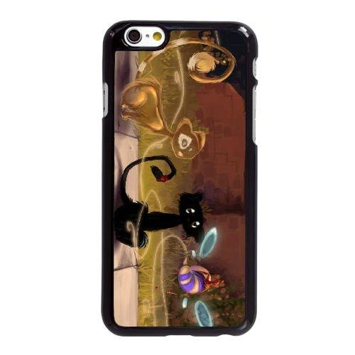 D0F84 chat dessin S8H1DG coque iPhone 6 Plus de 5,5 pouces cas de couverture de téléphone portable coque noire KP2IUS4UI