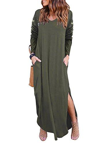 Women Long Sleeve Cotton Linen Casual Long Maxi Kaftan Hippie Dress - 1